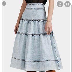 Ulla Johnson Blue Greta Acid Denim Tiered Skirt 6